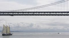 Oakland Bay Bridge San Francisco Skyline, Sailing Boat Passing, Attraction, Day Stock Footage