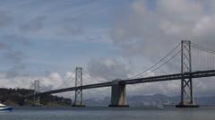 Oakland Bay Bridge San Francisco Skyline, Public Transportation, Ferry Commuters Stock Footage