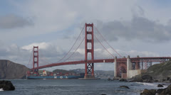 Cargo Ship MOL Famous Structure Golden Gate Bridge, San Francisco Bay Stock Footage