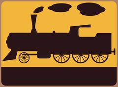 Junalla tai rautatieasemalle symboli. Piirros