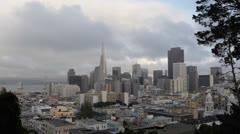 Transamerica Pyramid, San Francisco Downtown, Financial District Foggy Day Stock Footage