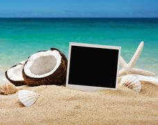 Stock Photo of chopped coconut and photoframe