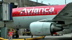 Jet Airplane Engines, Jet Turbines, Avianca Stock Footage