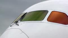 Boeing 787 Dreamliner Exterior Cockpit Windows Stock Footage