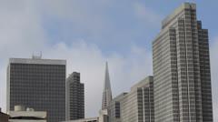 Tall Skyscrapers Financial District San Francisco Skyline Transamerica Pyramid Stock Footage