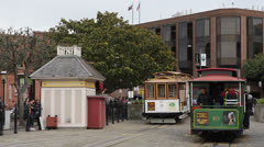 Crowded Historical Vehicle, Tourism Symbol, San Fran Tram Trip in a Cable Car Stock Footage
