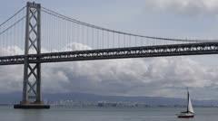Oakland Bay Bridge San Francisco, California Transportation Infrastructure Boats Stock Footage