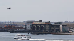 Port Authority Downtown Manhattan Heliport, Ferry Passing, Helicopter Landing Stock Footage