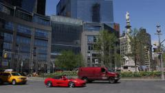 Red Sport Car Passing in NYC, Broadway, Central Park Traffic Jam, Cabs Commuting Stock Footage