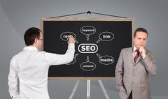 scheme seo on blackboard - stock photo