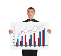 man in tuxedo holding placard with chart - stock photo