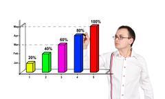 Man drawing chart Stock Photos