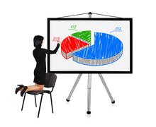 woman drawing graph - stock photo