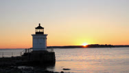 Timelapse of Bug Lighthouse at Sunrise, South Portland, Maine Stock Footage