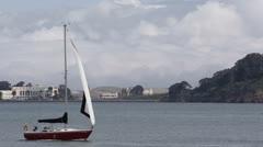 Sailboat Sail Boat Passing in San Francisco Bay Golden Gate Treasure Island Day Stock Footage