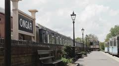 British Railway: Ongar train station platform Stock Footage