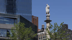 Columbus Circle Statue NYC, Broadway Modern Skyscrapers, Old Water Tank Tower Stock Footage
