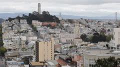 Pioneer Park, Lombard Street, San Francisco Skyline, Telegraph Hill Coit Tower Stock Footage