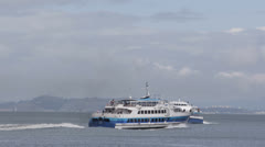 High Speed Catamaran Ferry Golden Gate Terminal San Francisco Bay Commuting Day Stock Footage