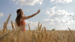 Young Beautiful Woman Beauty Dress Wheat Field Worship Pose Religion Health HD - stock footage