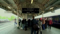 Morning Rush Hour Commuters Bristol Temple Meads Stock Footage