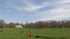 People Relaxing NYC Central Park, Cherry Trees, Great Lawn, Spring New York City Stock Footage