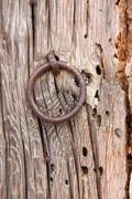 Old Door Ring on a Wood Door Stock Photos