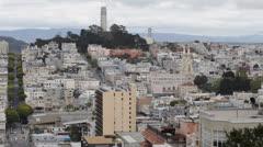 San Francisco Skyline, Telegraph Hill Coit Tower, Pioneer Park, Lombard Street - stock footage