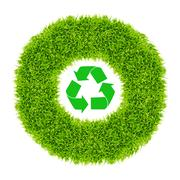 Recycle sign in green grass circle Stock Photos