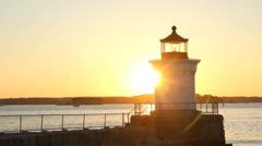 Bug Lighthouse at Sunrise, South Portland, Maine Stock Footage