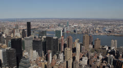 Aerial View New York City Skyline, Midtown Manhattan Skyscrapers Chrysler, Trump Stock Footage