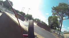 BMX Point of View Run Through a Skatepark Stock Footage