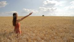Young Woman Worship Pose Nature Summer Field Christian Concept Background HD Stock Footage