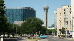 Stock Video Footage of omni dallas hotel and reunion tower, dallas, usa
