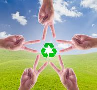 recycle sign in hand make star - stock photo