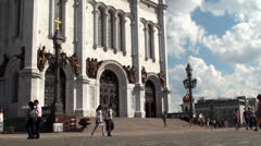 People at the Cathedral of Christ the Saviour. Moscow, Russia Stock Footage