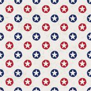seamless polka dot pattern with stars in american national flag colour gamut. - stock illustration