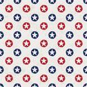 Stock Illustration of seamless polka dot pattern with stars in american national flag colour gamut.