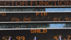 NYC Times Square Ticker Board Dow Jones S&P Nasdaq Stock Market Quotes Display - stock footage