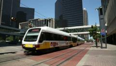 Stock Video Footage of dart light rail tram, dallas, texas, usa