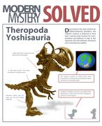 fake mystery article theropoda yoshisauria - stock illustration