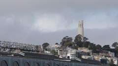 San Francisco Ferry Building, Telegraph Hill, Lillian Coit Memorial Tower, Fog Stock Footage