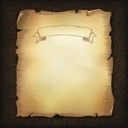 aged old scroll parchment with ribbon image on dark brown leather texture. ve - stock illustration