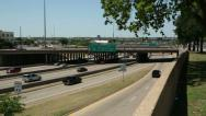 Stock Video Footage of traffic moves along freeway 30, dallas, texas, usa