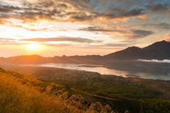 Sunrise over lake Batur Stock Photos
