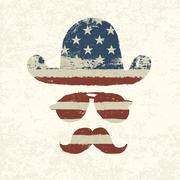 grunge american flag themed retro fun elements. vector, eps10 - stock illustration