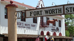 fort worth stock yards sign and fincher's store, texas - stock footage