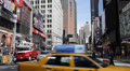 Utility Red Truck, Traffic Broadway Times Square, Yellow Cabs Passing, Commuters Footage