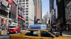 Utility Red Truck, Traffic Broadway Times Square, Yellow Cabs Passing, Commuters Stock Footage