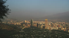 stock footage Chile -wide panning panoramic of santiago chile - stock footage